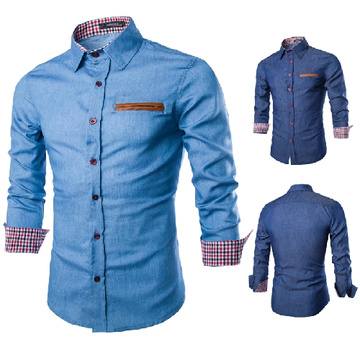 Mens denim color fashion shirt