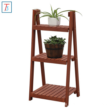 Foldable Wood Slat Plant Rack, Decorative Indoor / Outdoor Display Shelf Stand