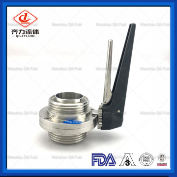 ISO DIN 3A Standard Threaded Sanitary Butterfly Valve