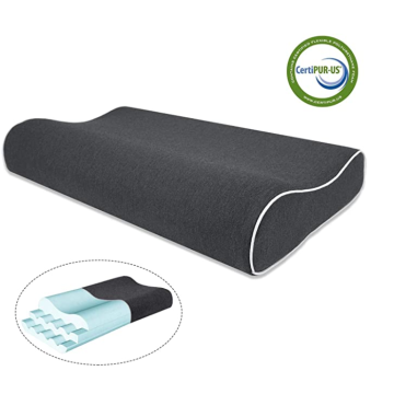 Height Adjustable Contour Memory Foam Pillow Cotton Black