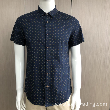 Men's print collar tape short sleeve shirt