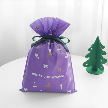 Purple Non-woven Christmas Party Package Gift Wrapping Bag