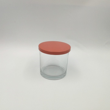 Clear plain candle glass with pink metal lid