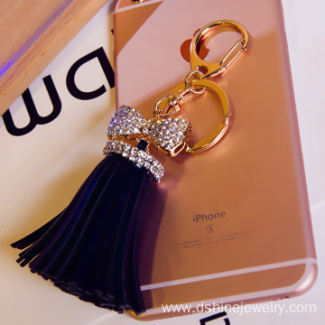 Leather Tassels Keychain Gold Crystal Bowknot Charm Keyring