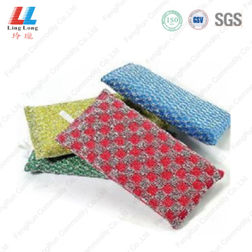 Long style silver checkered sponge scouring
