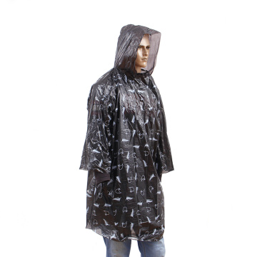 Gifted waterproof PE rain poncho with printing allover