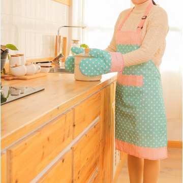 Custom Kitchen Cooking Apron Oven Gloves Cotton Set