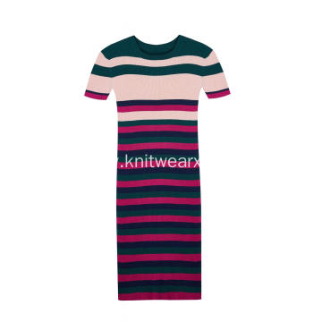 Women's Knitted Short Sleeve Stripes Stretchable Slim Dress
