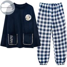 Winter Warm Thicken Elegant Women's Sleepwear Pajamas Lady Pajama Set Pullover Coral Fleece Pijamas Mujer Fashion Homewear Sets