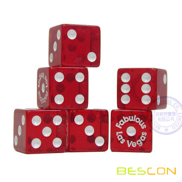 Red Transparent 19MM Trademark Acrylic Dice with Custom Printing or Engraving