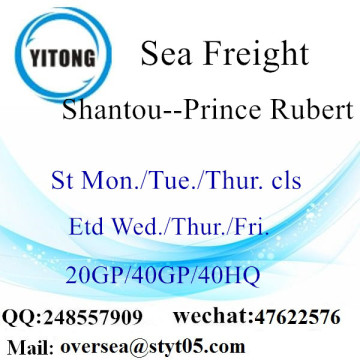 Shantou Port Sea Freight Shipping To Prince Rubert