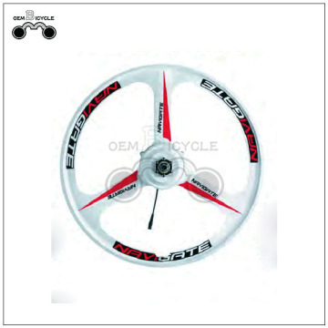 White 3 spoke bicycle alloy one wheel
