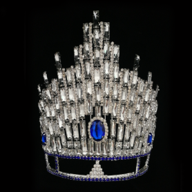 Large Tall King Pageant Tiara Rhinestone Crown
