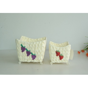 square paper rope weaving handicraft basket