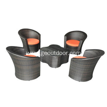 5 pcs modern flower garden rattan outdoor furniture
