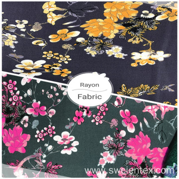 Custom Breathable Rayon Floral Print Women Summer Fabrics