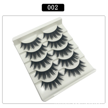 5 Pair 3d Faux Mink Eyelashes Private Label Eyelashes Package Box Natural Thick Fake Eyelashes