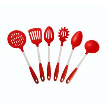 Wholesale 6pcs Red kitchen tools nylon utensil set