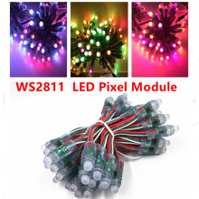 50leds/lot 5V 12mm WS2811 2811 IC Full Color LED Module Light Input IP68 Waterproof RGB Color Digital LED Pixel String