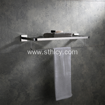 304 White Stainless Steel Double Towel Rack Shelf