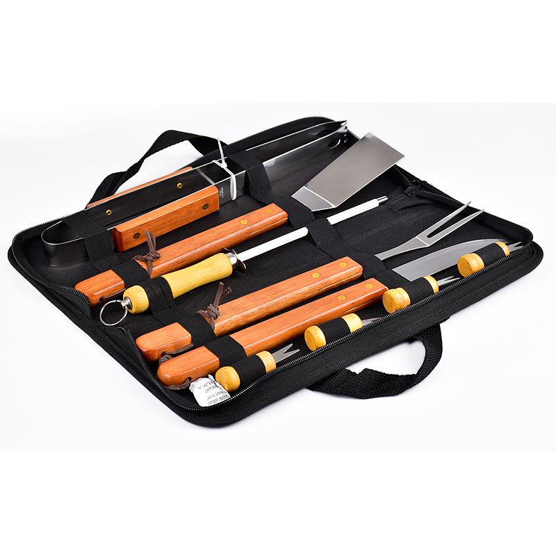 wooden handle BBQ tools set with a bag