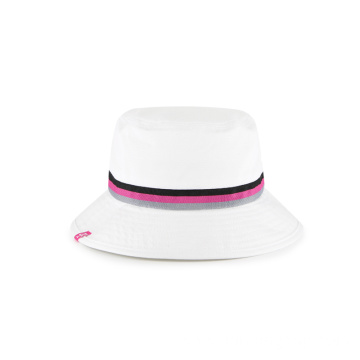 woven band suncut cotton twill white bucket cap