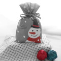 Medium Grey Christmas Snowman Drawstring Gift Bags