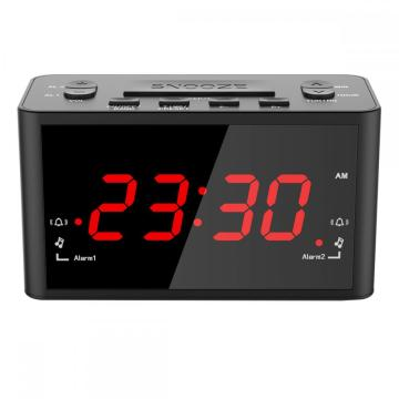 Hot Sale Red 1 Inch LED Display Radio Controlled Wall Clock With Temperature Small Desktop Digital Timer