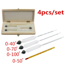 Alcohol Wine Hydrometer Meter In Wooden Box Alcoholmeter Concentration Instrument Meter (0-40%, 30-70%, 70-100%)