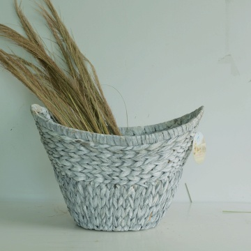 Washed white craft water hyacinth storage basket