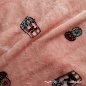 Printed Pink Two Side Soft Flannel Pajamas Fabric