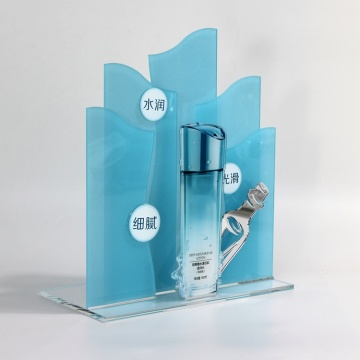 Apex clear blue acrylic cosmetic makeup display stand