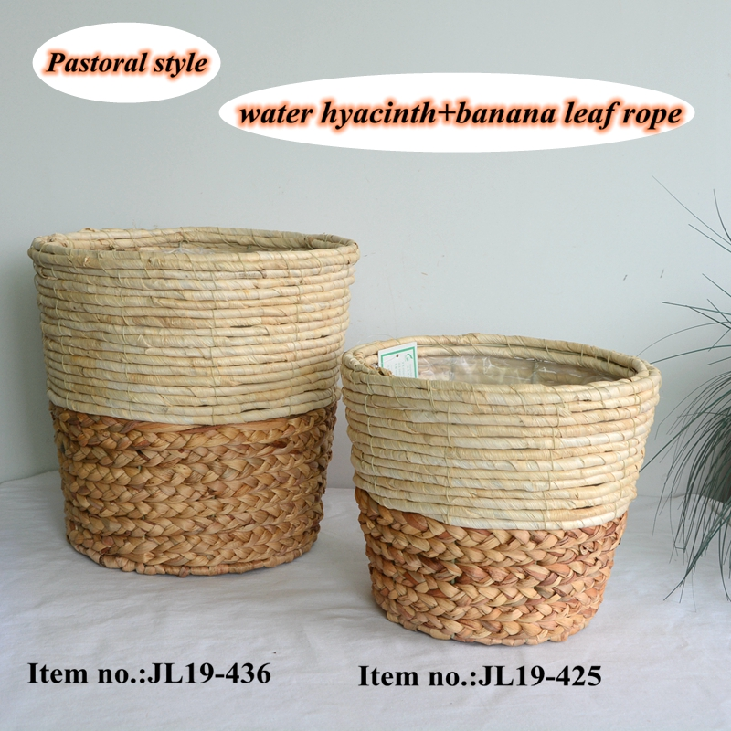 Round water hyacinth and maize rope flower decoration basket-1