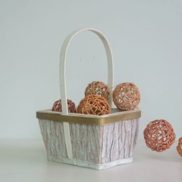 Rectangular wood bark collection basket