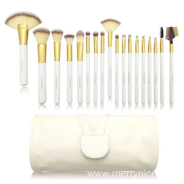18pc Professional Essential Bürste mat Wäiss PU Tas