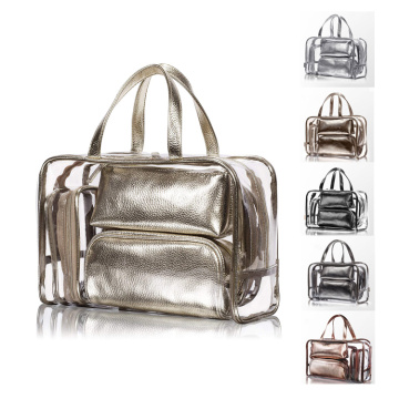 Golden Clear CosmeticTravel PVC Makeup Bags Organizer