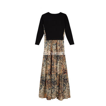 Women's Knitted Floral Print Voile Bohemian Long Dress