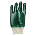 Green PVC coated gloves knit wrist cotton linning
