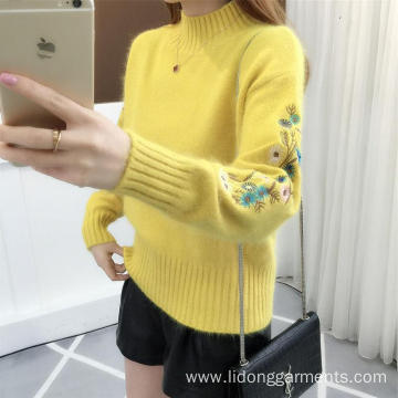 Crew neck Pullover embroidery long sleeve with loose knit sweater for women