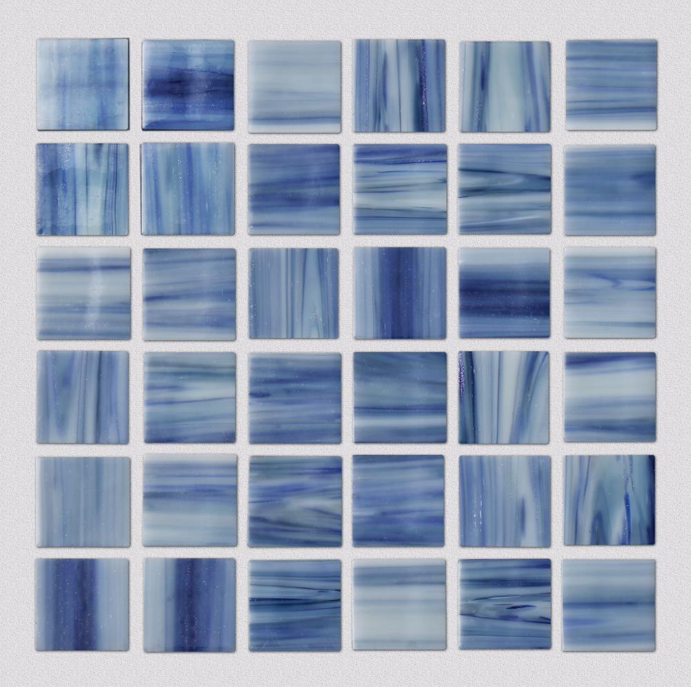 Blue pattern square glass mosaic tiles