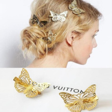 1Pcs Fashion French Gold Hollow Butterfly Hair clip hairpin Cute hairwear Imitation Bridal hairpin Animal Jewelry For Girls