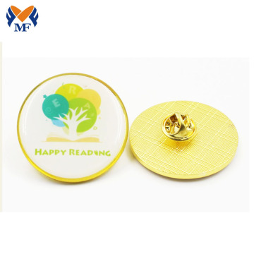 Round lapel pins customized print with epoxy metal pin badge