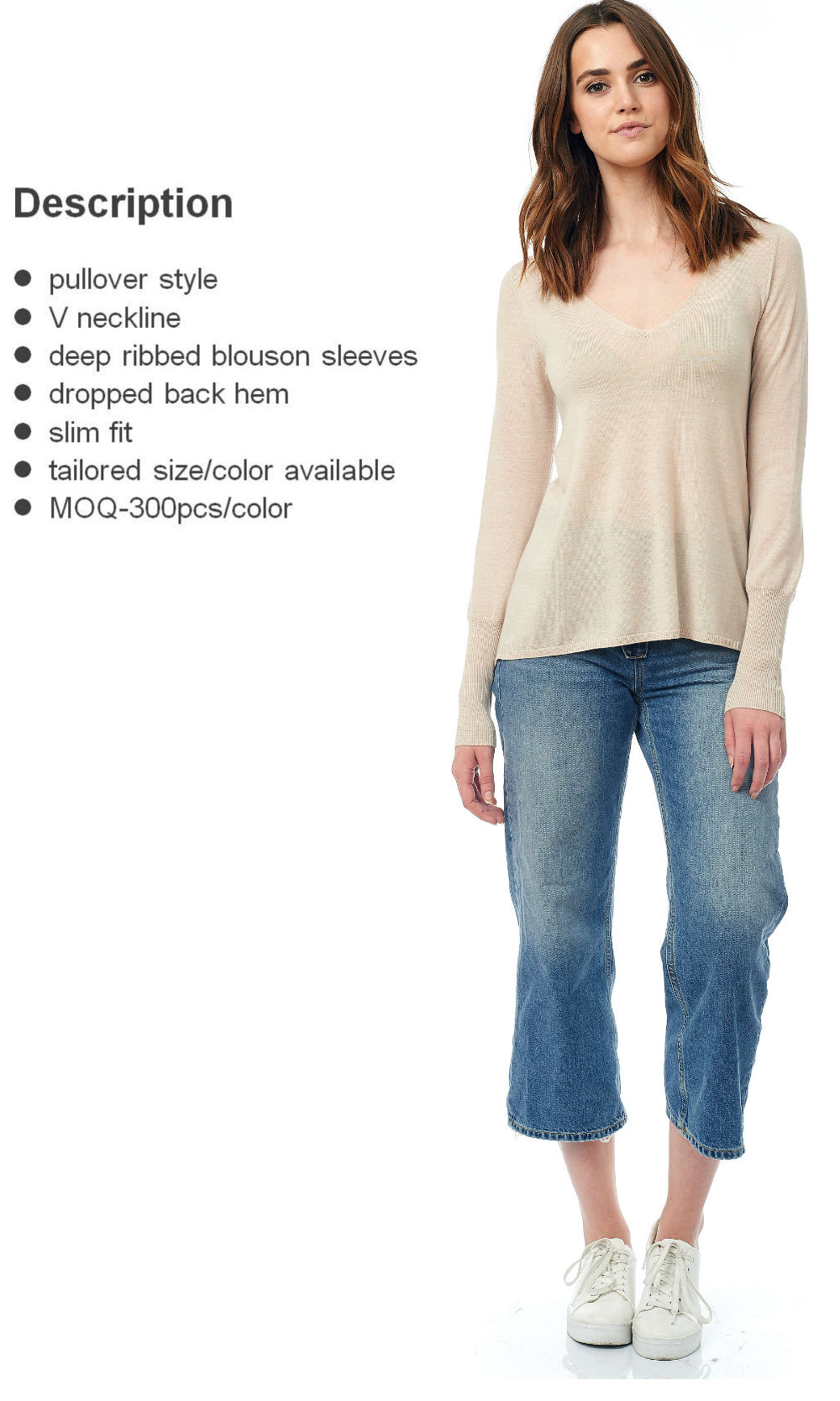 putty v neck semi-sheer sweater