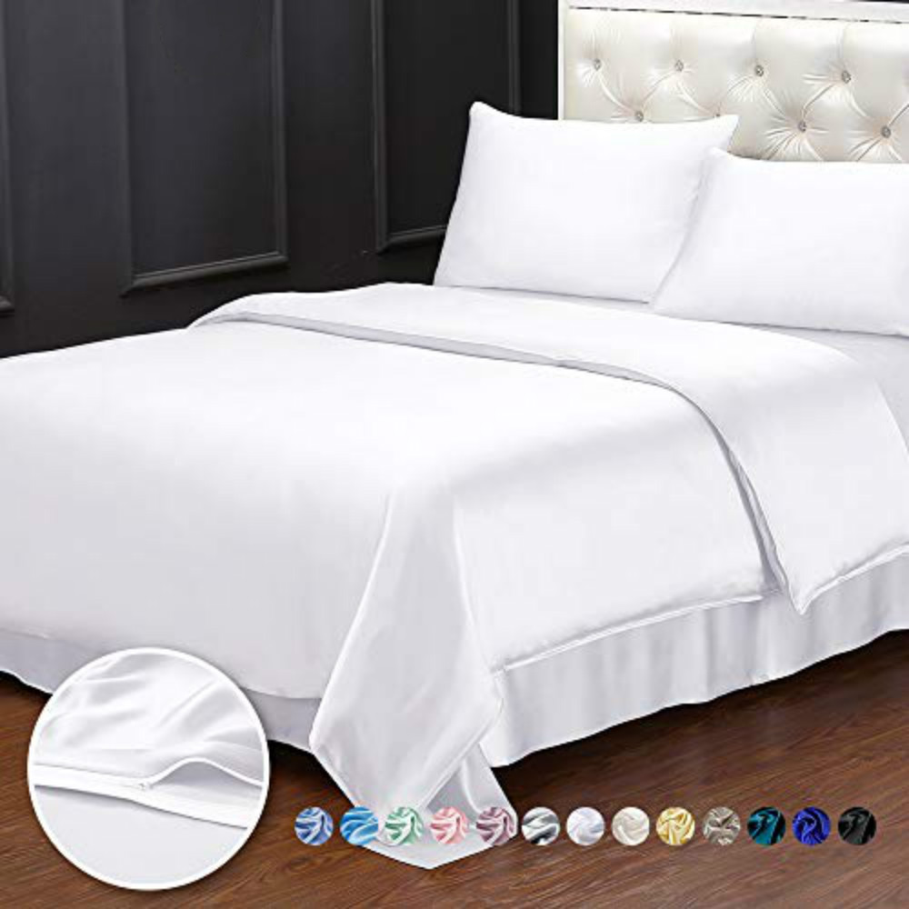 white silk bedding set