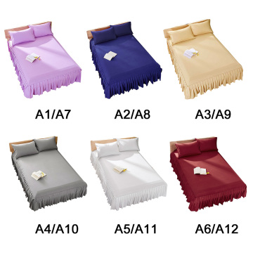2 Size Hotel Home Polyester Bed Covers Protection Coverlets Ruffle Pastoral Style Linen Duvet Cover Fit Bedspread