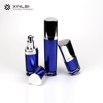Blue triangle lotion cosmetic plastic bottles