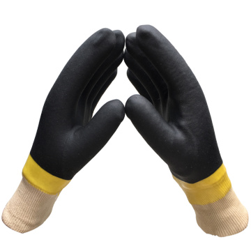 PVC Coated Gloves with Black Colour