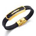 Mens leather and gold plated stainless steel bracelets