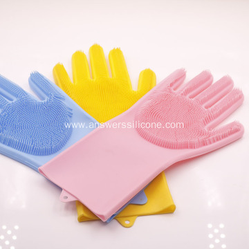 Multifunctional silicone dishwashing gloves for cleaning