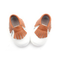 Leather Shoes White Brown Baby Moccasin Shoes
